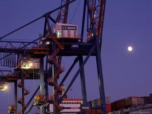 Freight at Baltimore Harbor at Dusk, Maryland by Kenneth Garrett