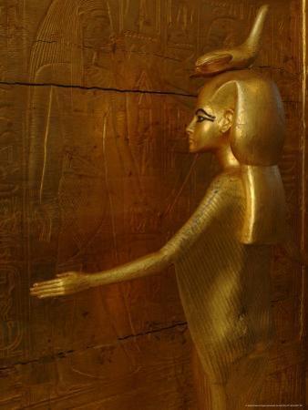 Goddess Selket, Tutankhamun Gold Canopic Shrine, Valley of the Kings, Egyptian Museum, Cairo, Egypt
