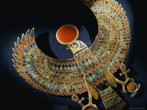 Gold Pendant of Hawk with Semiprecious Stones and Colored Glass by Kenneth Garrett