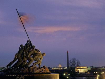 Iwo Jima Monument and Skyline of D.C. at Night, Washington, D.C.