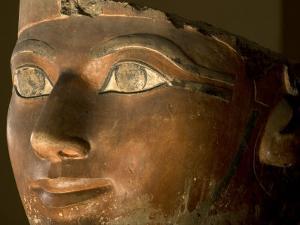 Osiris statue face of Hatshepsut in painted limestone by Kenneth Garrett