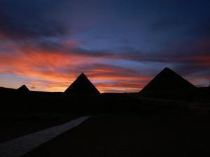 Pyramids of Giza at Sunset by Kenneth Garrett
