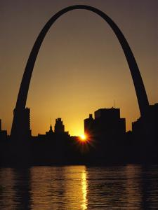 Silhouette at Twilight of the Gateway Arch and Surrounding Skyline by Kenneth Garrett