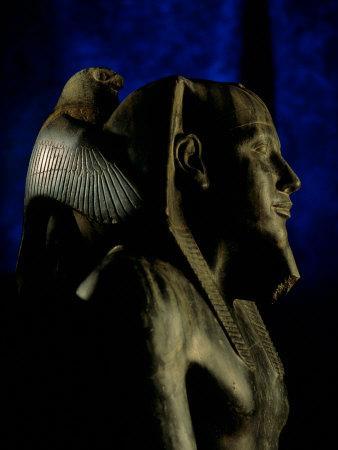 Statue of Diorite, Pharaoh Khafre with Falcon God Horus, Egyptian Museum, Cairo, Egypt