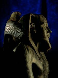 Statue of Diorite, Pharaoh Khafre with Falcon God Horus, Egyptian Museum, Cairo, Egypt by Kenneth Garrett