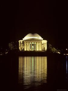 The Jefferson Memorial at Night, Reflected in the Tidal Basin, Washington, D.C. by Kenneth Garrett