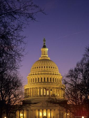 The U.S. Capitol Building Lit Up at Night, Washington, D.C.