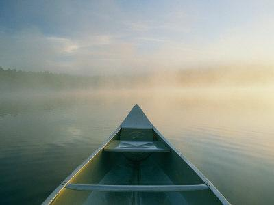 View from a Canoe on a Foggy River