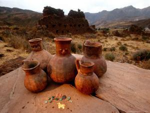 Wari Face Neck Jars and Painted Vessels, Cache, Empires of the Sun, Huari, Peru by Kenneth Garrett