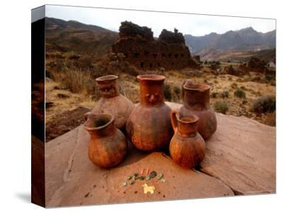 Wari Face Neck Jars and Painted Vessels, Cache, Empires of the Sun, Huari, Peru