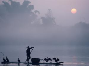 A Fisher Uses Cormorants to Capture Fish from the Li River at Sunrise by Kenneth Ginn