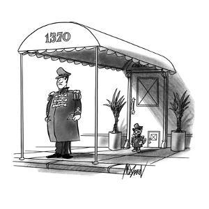 A cat doorman stands by a pet flap at a city house. - New Yorker Cartoon by Kenneth Mahood
