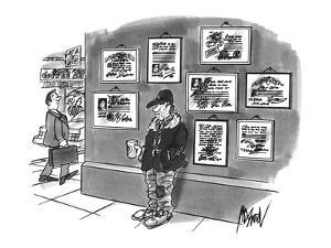 Beggar standing on corner with cup in hand and diplomas hanging on wall be? - New Yorker Cartoon by Kenneth Mahood