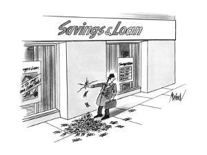 Businessman walking past a Savings & Loan stops to put his finger in a hol? - New Yorker Cartoon by Kenneth Mahood