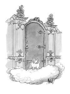 Cat angel going through the heavenly gates by cat-door. - New Yorker Cartoon by Kenneth Mahood