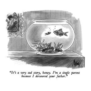"""It's a very sad story, honey.  I'm a single parent because I devoured you?"" - New Yorker Cartoon by Kenneth Mahood"