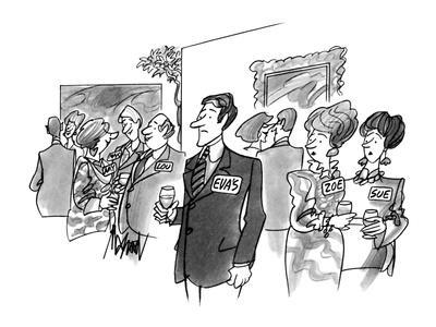 Man with name card saying 'Eva's'. - New Yorker Cartoon