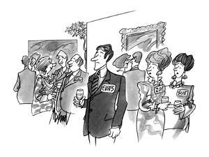 Man with name card saying 'Eva's'. - New Yorker Cartoon by Kenneth Mahood