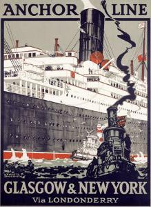 Anchor Line, Glasgow to New York by Kenneth Shoesmith