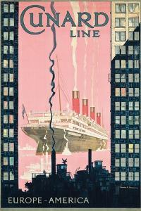 Cunard Line' - Werbeplakat für Reisen von Europa nach Amerika mit der Reederei Cunard Line by Kenneth Shoesmith