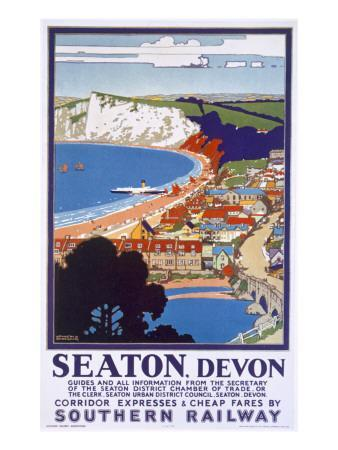Seaton, Devon, Poster Advertising Southern Railway