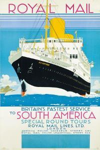 Werbeplakat für den Königlichen Postdienst nach nach Südamerika. Um 1930 by Kenneth Shoesmith