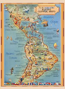 Pictorial Map of North & South America - Flying Clipper Ships Routes - Pan American World Airways by Kenneth Thompson