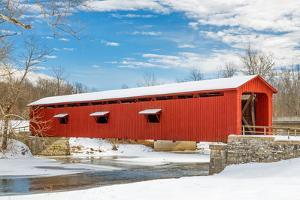Snowy Red Covered Bridge by KennethKeifer
