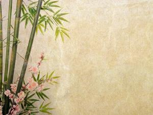 Bamboo and Plum Blossom on Old Antique Paper Texture by kenny001