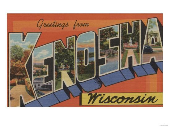 Kenosha, Wisconsin - Large Letter Scenes-Lantern Press-Art Print