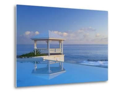 Gazebo Reflecting on Pool with Sea in Background, Long Island, Bahamas