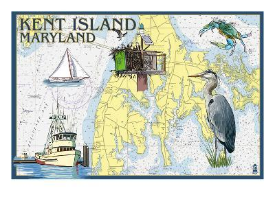 Kent Island, Maryland - Nautical Chart-Lantern Press-Art Print