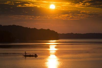 A Fisherman at Sunrise on the Occoquan River, Looking Toward Mason Neck