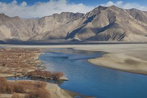 A High Angle View of the Lhasa River and Nearby Mountains by Kent Kobersteen
