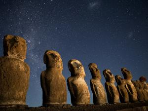 Night View of Maoi Statues under a Star Filled Sky by Kent Kobersteen