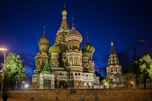 Saint Basil's Cathedral Illuminated at Night on Red Square, a UNESCO World Heritage Site by Kent Kobersteen