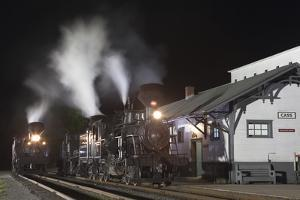 Shay Locomotives #4 (1922) and #5 (1905), and Heisler Locomotive #6 (1929), at Cass Depot by Kent Kobersteen