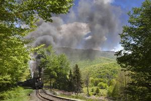 Shay Locomotives #6 (1945), and #5 (1905) on the S-Curve Just before Whittaker Station by Kent Kobersteen