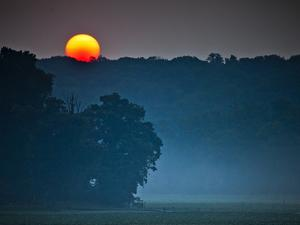 Sunrise on the Occoquan River, Looking in the Direction of Mason Neck by Kent Kobersteen