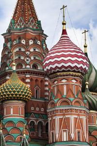 The Colorful Onion Domes of Saint Basil's Cathedral in Red Square by Kent Kobersteen
