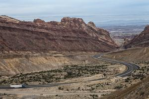 Us Interstate Highway 70 Winds Through Spotted Wolf Canyon in Eastern Utah by Kent Kobersteen