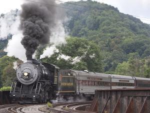 Western Maryland Scenic Railraod 2-8-0 No.734 Crossing Trestle into Depot by Kent Kobersteen