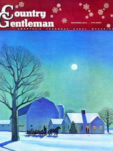 """Moonlit Sleighride,"" Country Gentleman Cover, December 1, 1943 by Kent Rockwell"