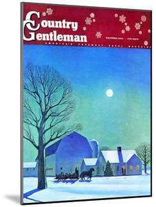 """""""Moonlit Sleighride,"""" Country Gentleman Cover, December 1, 1943 by Kent Rockwell"""