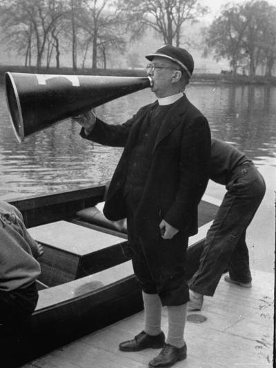 Kent School Headmaster Father Sill Yelling Through Megaphone to Crew Team-Peter Stackpole-Photographic Print