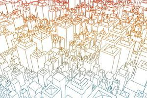 Wireframe City with Buildings and Blueprint Design Art by kentoh