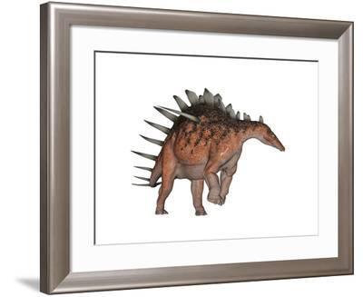Kentrosaurus Dinosaur, White Background--Framed Art Print