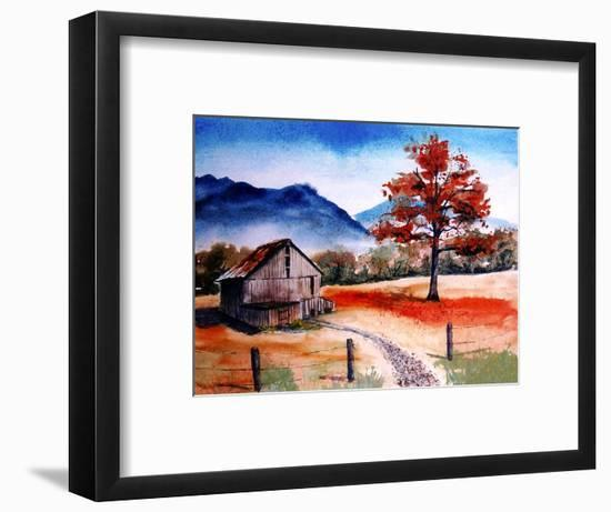 Kentucky Barn with Blue Mountains in Background-Rich LaPenna-Framed Premium Giclee Print
