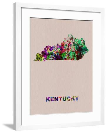Kentucky Color Splatter Map-NaxArt-Framed Art Print