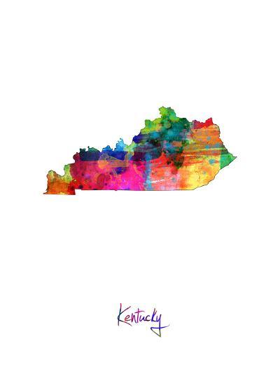 Kentucky Map-Michael Tompsett-Art Print